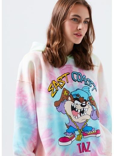 Mavi Tazmanya Canavarı Baskılı Batik Desenli Sweatshirt Pembe